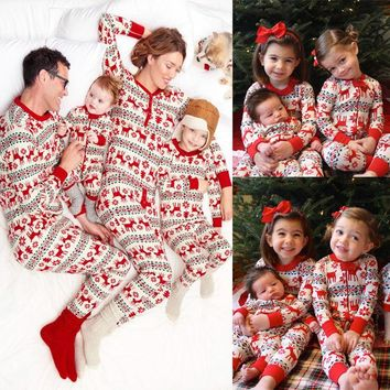 Christmas Family Women Men kid baby Sleepwear Pajamas Set Striped Outfits Pajama Sets