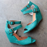 bc footwear - spark peep toe wedges - teal