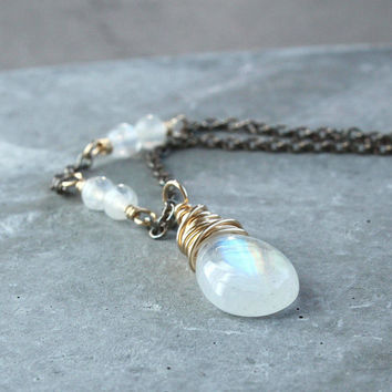 White Moonstone  Necklace Mixed Metal  Silver And Gold  June Birthstone Jewelry Gemstone Jewelry  Drop Necklace Made For Women Birthday Gift