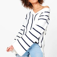 Justine Wide Sleeve Striped Oversized Jumper | Boohoo