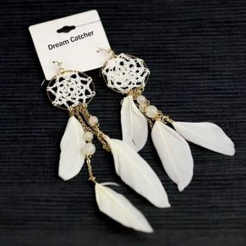 DCCKIX3 2015 New Ethnic white coffee color Feather Beads Long Design Dream Catcher Earrings Bohemia = 1928455940