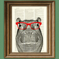 Hippopotamus Smarty Pants Hippo with red glasses by collageOrama