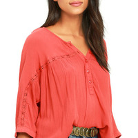 Amuse Society Olivia Coral Red Top