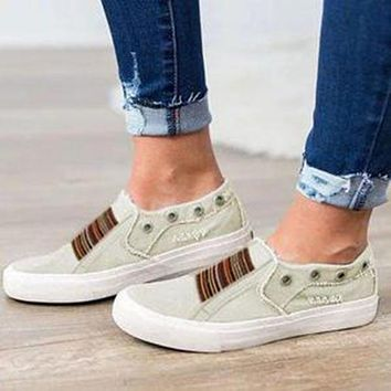 Summer fashion new large size flat bottom elastic washed denim one foot couple single shoes  Beige