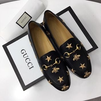 Gucci Jordaan Embroidered Leather Loafer #1471