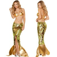 2015 Free Shipping Sexy Gold Adult Mermaid Tail Costume With Monofin Halloween Costumes for Women