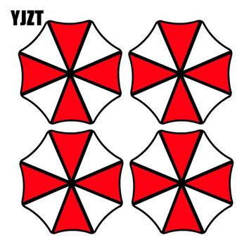 YJZT 8x8CM 4x UMBRELLA Fashion Round Resident Evil Retro-reflective Car Sticker Decals C1-8008