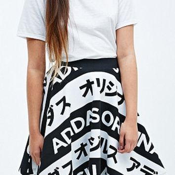 Adidas Typo Skirt in Black and White - Urban Outfitters