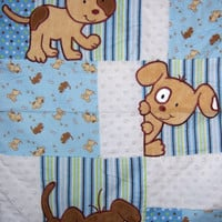 Puppy Patchwork Baby Quilt - READY TO SHIP - 34x42 Baby Blanket - Puppy Baby Quilt - Puppy Crib Nursury Bedding - Minky & Flannel Blanket -