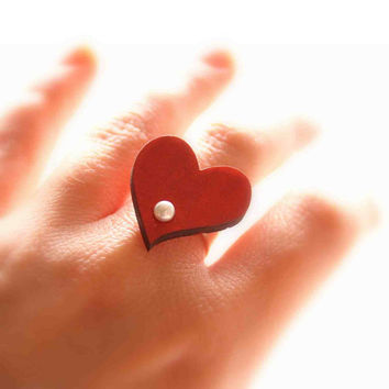 Red Heart Ring - Offbeat Bridal Wedding Jewelry, Bridesmaid Gift - Wooden Ring with Mother of Pearl