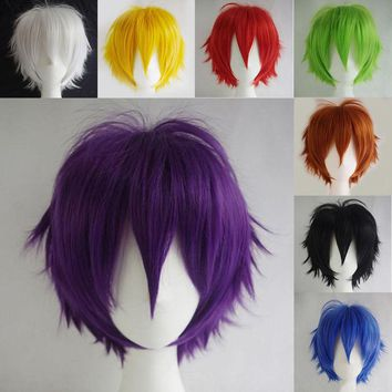 SNOILITE Black White Purple Red Short Hair Cosplay Wig Male Party 30 Cm High Temperature Fiber Synthetic Hair Wigs