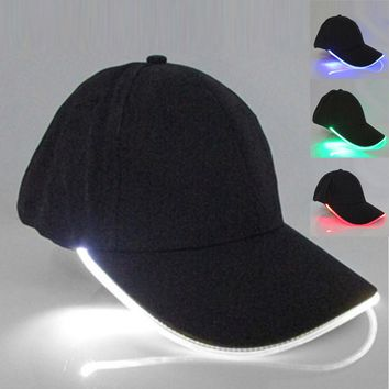 Unisex LED Light Cap Hat Team Baseball Caps Fitted Hats Glow In Dark Party Club Props H9