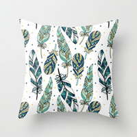 Feathers Throw Pillow by Julia Badeeva