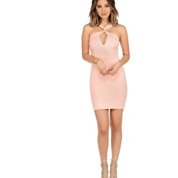 Pink Sweetly Twisted Bodycon Dress