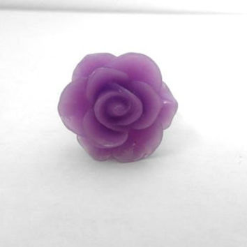 Adjustable Purple Rose Flower Cabochon Ring
