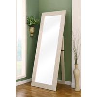 Contemporary Leaning Wall Mount Full Length Cheval Floor Mirror in White