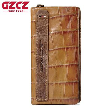 GZCZ Genuine Leather Embossing Alligator Ladies Long Clutch Wallets Women Wallet Female Phone Bag Coin Pocket Coin Purses