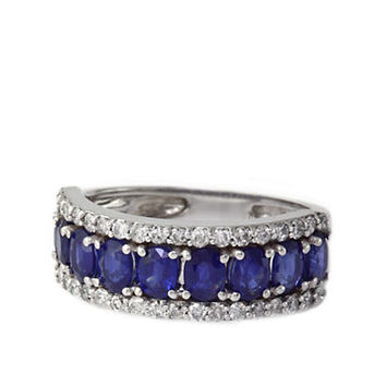 Effy Royale Bleu Sapphire and Diamond Ring in 14 Kt White Gold