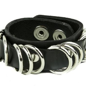 D-Ring Quality Black Leather Wristband Cuff Bracelet