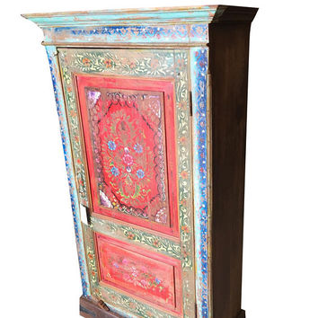 Jewel Tones Red Antique Indian Floral Hand painted Cabinet Armoire Cupboard One of Unique Kind Shabby Chic Decor