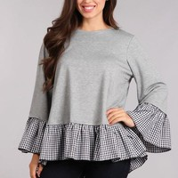 Grey Gingham Ruffle Hem Top