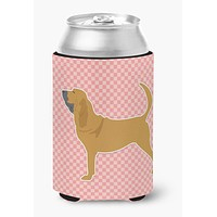 Bloodhound Checkerboard Pink Can or Bottle Hugger BB3584CC