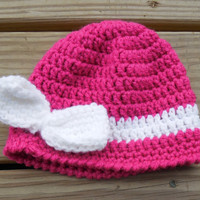 Crochet Baby Hat - Baby Bow Hat - 6-12 month Baby Girl Beanie - Pink Winter Hat