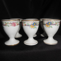 Limoges Egg Cups Set Of 6 C. Ahrenfeldt Floral Flowers Hand Painted 1894-1930 Home Dining Breakfast Entertaining Serving
