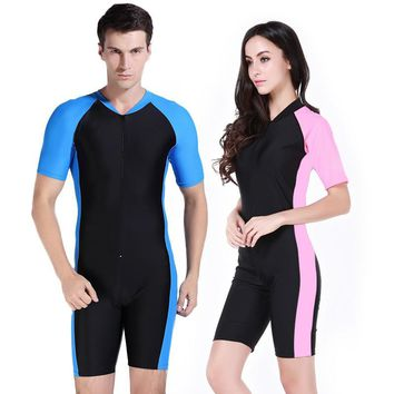 SBART  Anti-UV one-piece short sleeve swimsuit sun protection jellyfish submersible snorkeling diving suit rushguards