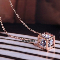 18K Rose Gold Gp Austrian Crystal In Box Beautiful Cute Necklace BR936