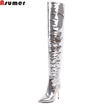 ASUMER 2018 fashion women boots pointed toe zipper sexy over the knee boots zipper super high thin heel ladies prom boots