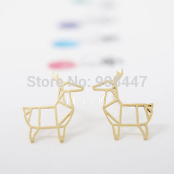 2016 New Fashion Stud Earrings Animal Origami Deer Stud Earrings for Women Wedding and Party Gifts S035