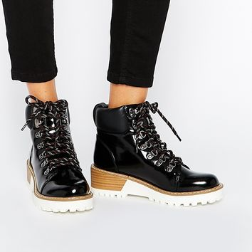 Monki Patent Hiker Boots