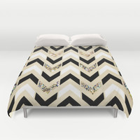 Black, White & Gold Glitter Herringbone Chevron on Nude Cream Duvet Cover by Tangerine-Tane