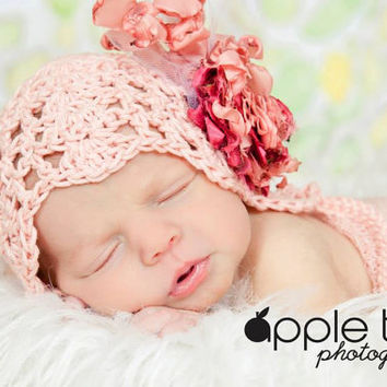 Crochet Pattern for Julianna Baby Bonnet Hat - 4 sizes, newborn to child- Welcome to sell finished items