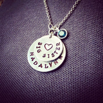 Custom Stamped Big Sister Necklace - Mommy Necklace - Childrens Necklace - Little Sister - Aluminum Silver Discs with Swarovski Birthstones