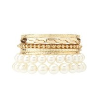 Pearl & Bangle Bracelets - 7 Pack by Charlotte Russe - Gold