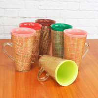 Vintage Set of 6 Tall Raffiaware Mugs, Cups Multi Color Melmac Insulated Drinkware, Tiki Cups, Picnicware