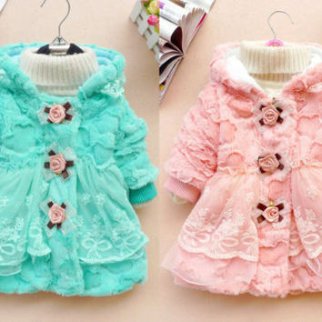 Toddler Kids Baby Girl Faux Fur Coat Outwear Warm Fleece Winter Jacket Snowsuit