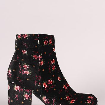 Qupid Floral Print Velvet Blocky Heeled Ankle Boots