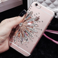 Luxury Shining Rhinestone Jewel Sunflower Soft TPU Case Cover For iphone 5s 5c 6 6s plus 7 7 plus Bling Case