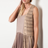 Sittin' Out Under The Stars Fringe Vest - Mocha