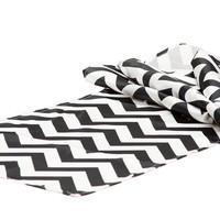 Satin Chevron Black and White Table Runner