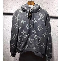 Louis Vuitton Women/Men Fashion Gray Pullover Sweater Sweatshirt Hoodie