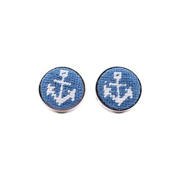Anchor Needlepoint Cufflinks by Smathers & Branson