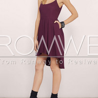 Burgundy Spaghetti Strap High Low Dress