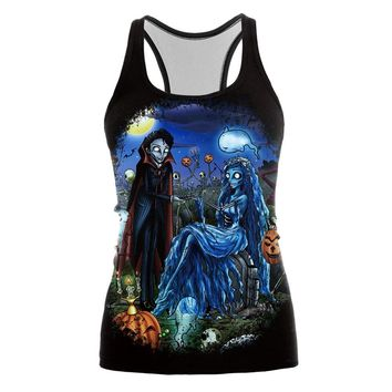 XAXBXC 012 Fashion Summer Sexy Girl Sleeveles Tank Tops Corpse Bride Galaxy Halloween Prints Elastic Slim Fitness Women Top Vest