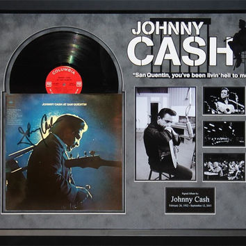 Johnny Cash - At San Quentin - Signed Album Custom Framed