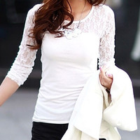 Cutout Lace Long-Sleve Shirt