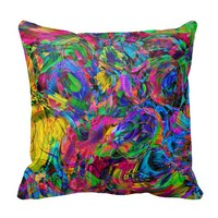 Watercolor Modern Abstract Glitter Stripes Pattern Pillows